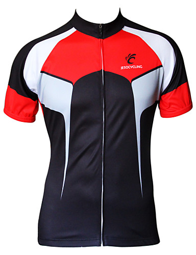 cheap Cycling Clothing-JESOCYCLING Men's Short Sleeve Cycling Jersey Black / Red White+Red Bike Jersey Top Breathable Quick Dry Ultraviolet Resistant Sports 100% Polyester Clothing Apparel / Stretchy