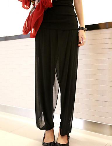 Dame Store størrelser Løstsittende Harem Løstsittende Jeans Bukser Ensfarget