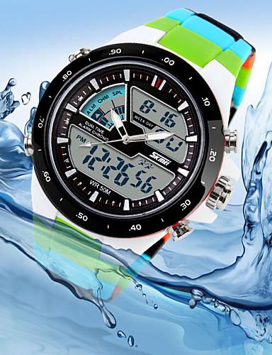 Homens Relógio de Pulso Calendário / Cronógrafo / Impermeável Silicone Banda Luxo Cores Múltiplas / LED / Dois Fusos Horários