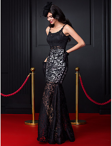 Fit & Flare Spaghetti Straps Floor Length Lace Prom Formal Evening Dress with Lace by TS Couture®