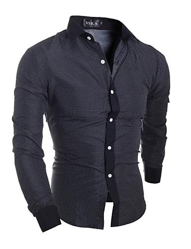 男性用 シャツ レギュラーカラー スリム ソリッド コットン