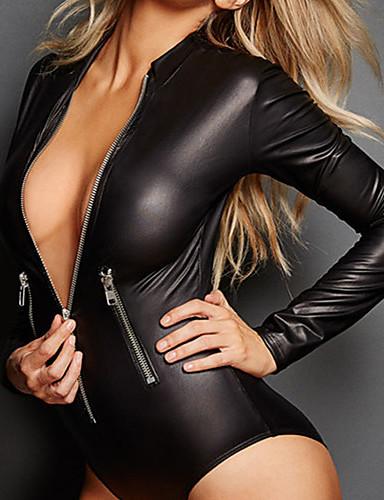 abordables Uniformes Sexy-Femme Ninja Assassin Plus d'uniformes Lingerie Combinaisons de Discothèque Combinaison Morphsuit Costume de Cosplay Combinaison-pantalon Couleur unie Collant / Combinaison Costume Zentai
