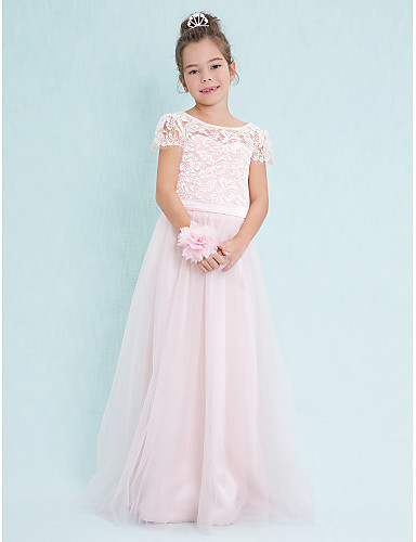 A-Line Scoop Neck Floor Length Lace / Tulle Junior Bridesmaid Dress with Lace by LAN TING BRIDE® / Natural