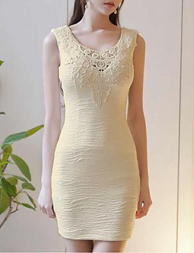 Γυναικείο Πάρτι Βίντατζ Εφαρμοστό Φόρεμα,Μονόχρωμο Αμάνικο Στρογγυλή Λαιμόκοψη Μίνι Βαμβάκι Καλοκαίρι Κανονική Μέση Ανελαστικό Λεπτό