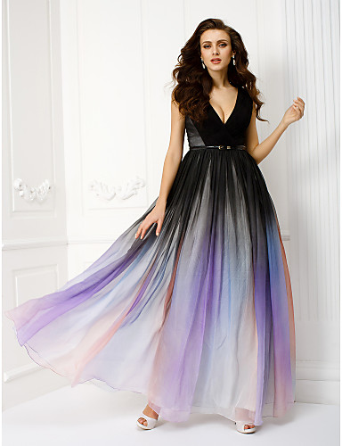 Sheath / Column V Neck Floor Length Chiffon Formal Evening Dress with Sash / Ribbon Side Draping by TS Couture®