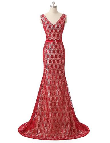 칼집 / 열 v- 넥 코트 트레인 레이스 이브닝 드레스와 스팽글