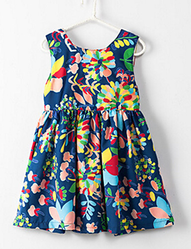 여자의 드레스 플로럴,여름 린넨 폴리에스테르 민소매