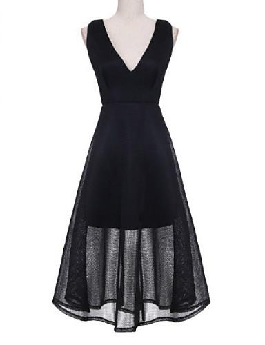 Mulheres Vestido Evasê Sexy / Moda de Rua Sólido Maxi Decote V Nylon