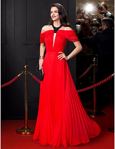 A-Line Jewel Neck Floor Length Chiffon Prom Formal Evening Dress with Beading Draping by TS Couture®
