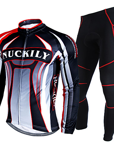 cheap Cycling Clothing-Nuckily Men's Long Sleeve Cycling Jersey with Tights Red Geometic Bike Clothing Suit Waterproof Thermal / Warm Windproof Reflective Strips Winter Sports Polyester Velvet Fleece Patchwork Mountain