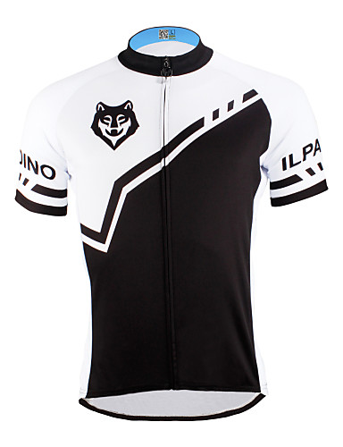 cheap Cycling Clothing-ILPALADINO Men's Short Sleeve Cycling Jersey - Black Black with White Bike Jersey Top Breathable Quick Dry Ultraviolet Resistant Sports Polyester 100% Polyester Terylene Mountain Bike MTB Road Bike
