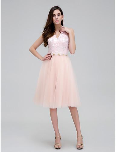 A-Line Halter Knee Length Lace Tulle Cocktail Party Prom Dress with Beading Lace Sash / Ribbon by TS Couture®