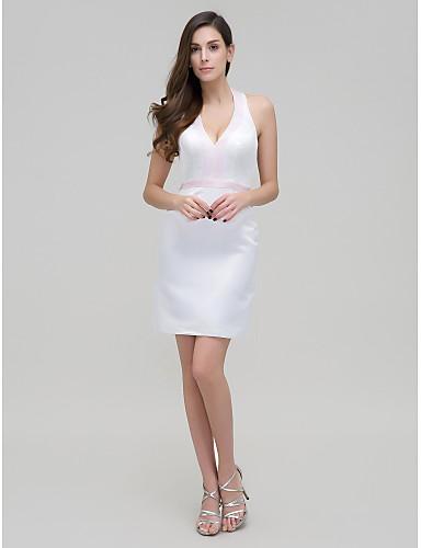 ts couture® koktél party ruha - n / a hüvely / oszlop kötőfék rövid / mini szakaszon szatén gyöngyös