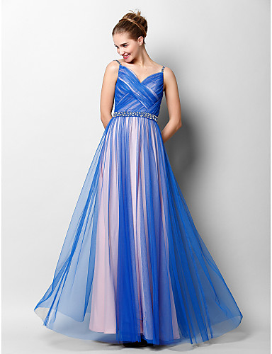 A-Line Spaghetti Straps Floor Length Tulle Prom / Formal Evening Dress with Beading Criss Cross by TS Couture®