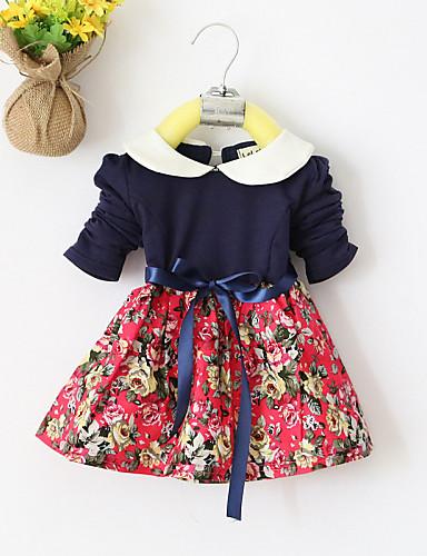 여자의 드레스 프린트 캐쥬얼/데일리 사계절 면 핑크 / 레드 / 옐로