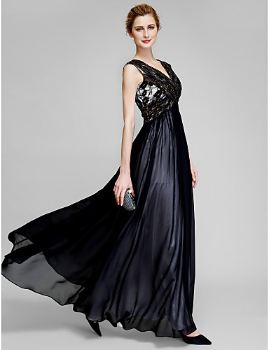 Sheath / Column V-neck Ankle Length Chiffon Lace Mother of the Bride Dress with Lace Criss Cross by LAN TING BRIDE®