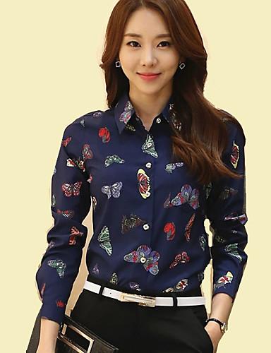 povoljno Majica-Veći konfekcijski brojevi Majica Žene Dnevno Životinja Kragna košulje Naborano Tamno plava / Proljeće