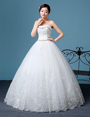 A-라인 스윗하트 바닥 길이 레이스 튤 웨딩 드레스 와 레이스 으로
