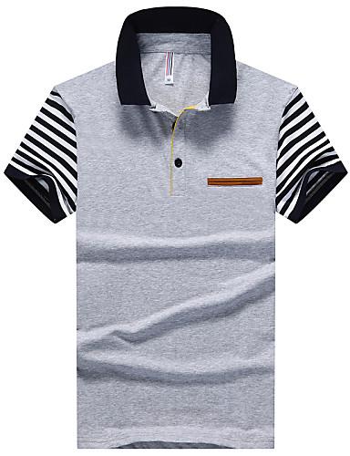 Homens Polo Fashion, Listrado Algodão Colarinho de Camisa