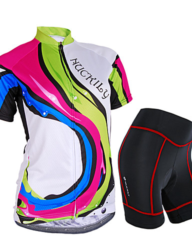 cheap Cycling Clothing-Nuckily Women's Short Sleeve Cycling Jersey with Shorts - Camouflage Rainbow Bike Shorts Jersey Clothing Suit Waterproof Breathable 3D Pad Reflective Strips Sweat-wicking Sports Polyester Spandex