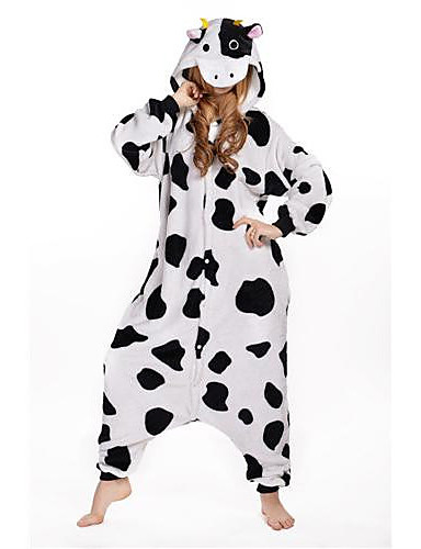 cheap Kigurumi Pajamas-Adults' Kigurumi Pajamas Milk Cow Animal Onesie Pajamas Polar Fleece White Cosplay For Men and Women Animal Sleepwear Cartoon Festival / Holiday Costumes
