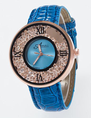 Mulheres Relógio de Moda Relógios Femininos com Cristais Quartzo imitação de diamante PU Banda Preta Branco Azul Vermelho Marrom Rose