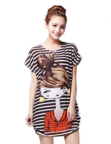 여성의 프린트 라운드 넥 짧은 소매 티셔츠,스트리트 쉬크 데이트 오렌지 레이온 여름 얇음