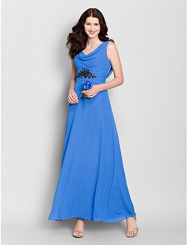 Γραμμή Α Ντραπέ Μέχρι τον αστράγαλο Σιφόν Φόρεμα Παρανύμφων με Κρυστάλλινη λεπτομέρεια με LAN TING BRIDE®