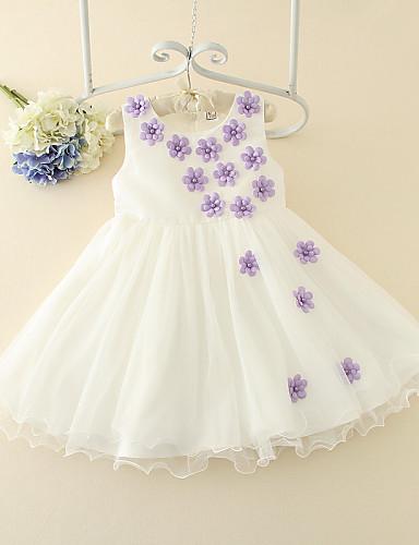 A-kroj Kratki / mini Haljina za djevojčicu s cvijećem - Til Bez rukava Ovalni izrez s