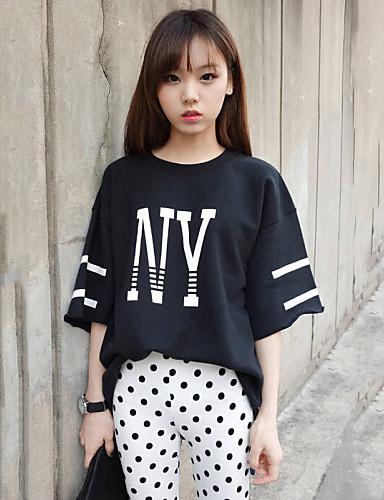 여성 프린트 라운드 넥 짧은 소매 티셔츠,심플 스트리트 쉬크 캐쥬얼/데일리 면 여름 얇음