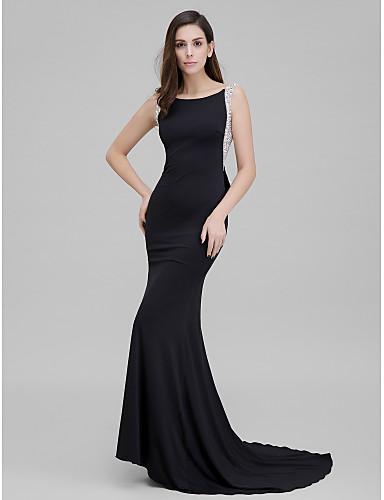 Sereia Scoop pescoço Cauda Corte Microfibra Jersey Evento Formal Vestido com Miçangas Laço(s) de TS Couture®