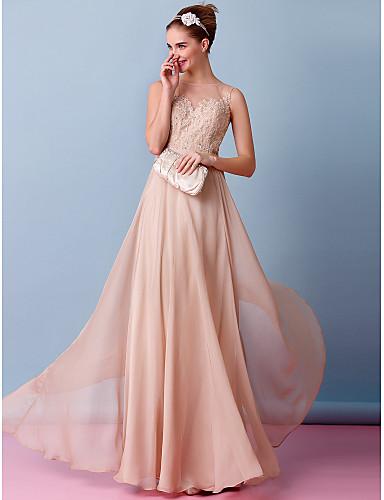 A-Şekilli Illüzyon boyun çizgisi Yere Kadar Şifon Aplik ile Düğün elbisesi tarafından LAN TING BRIDE®