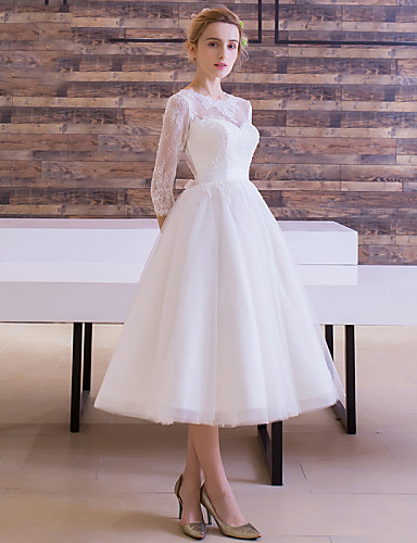 cheap Wedding Dresses-A-Line Bateau Neck Tea Length Lace Over Tulle Made-To-Measure Wedding Dresses with Sash / Ribbon by LAN TING Express / Illusion Sleeve / Little White Dress / See-Through