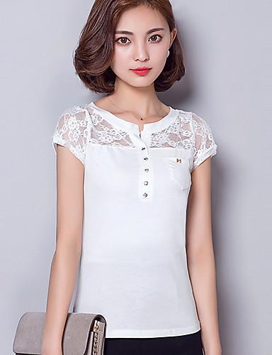 Damen Bluse - Spitze Kunstseide Kurzarm V-Ausschnitt