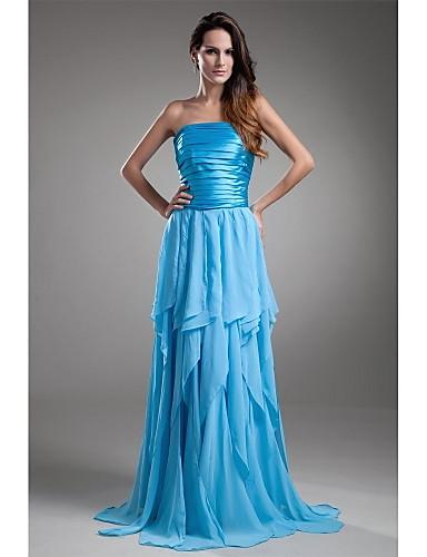 A-Linie Trägerlos Boden-Länge Chiffon Charmeuse Abiball / Formeller Abend Kleid mit Plissee durch TS Couture®