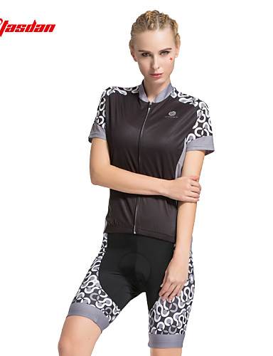 cheap Cycling Clothing-TASDAN Women's Short Sleeve Cycling Jersey with Shorts - Black Light Grey Pink Dots Bike Shorts Jersey Padded Shorts / Chamois Breathable 3D Pad Quick Dry Reflective Strips Back Pocket Sports Dots
