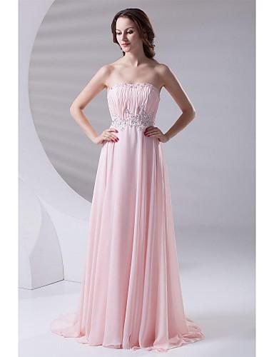 A-line trägerlosen Sweep / Pinsel Zug Chiffon formalen Abendkleid mit Perlen drapieren
