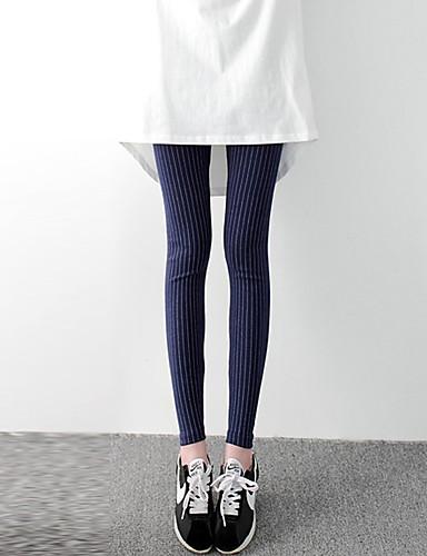 Damen Mittel Baumwolle Gestreift Bedruckt Legging, Schwarz Marinenblau Dark Gray Hellgrau