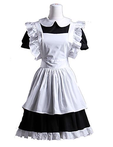 billige Lolita Mote-Gothic Lolita Kort Forklæde Kjoler Stuepike Kostumer Dame Jente Bomull Japansk Cosplay-kostymer Hvit Lapper Rulle Ermer Kortermet Kort Lengde / Gotisk Lolita