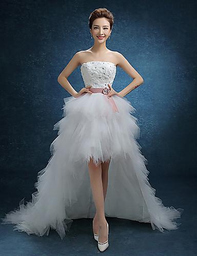 A-Linie Trägerlos Asymmetrisch Spitze Tüll Hochzeitskleid mit Spitze durch QQC Bridal