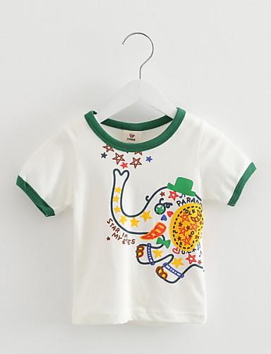 Poikien Painettu T-paita Rento/arki Puuvilla Kesä Lyhyt hiha Cartoon Valkoinen Harmaa