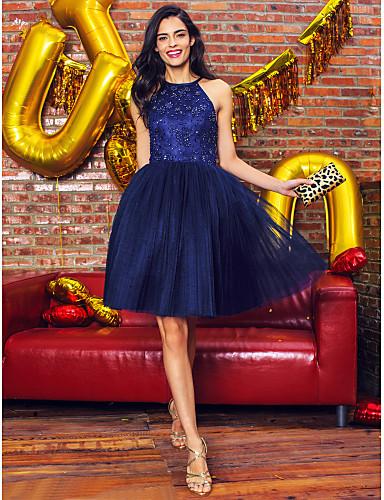 볼 드레스 홀터 넥 무릎 길이 레이스 튤 칵테일 파티 / 댄스 파티 드레스 와 비즈 레이스 으로 TS Couture®