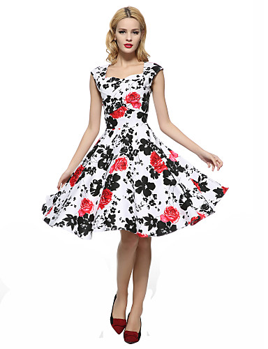 Nais- Tuppi / Swing Mekko Vintage Bile / Plus-koko,Kukka Nelikulmainen kaula-aukko Polvipituinen Hihaton Punainen PuuvillaKaikki