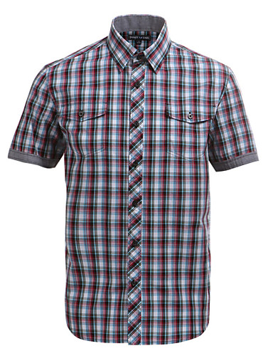 JamesEarl Férfi Állógallér Rövid ujjú Shirt és blúz Barna - DA102007873