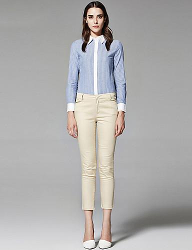 ZigZag® Žene Kragna košulje Dugi rukav Shirt & Bluza Smeđa / Obala / Cijan - 11442