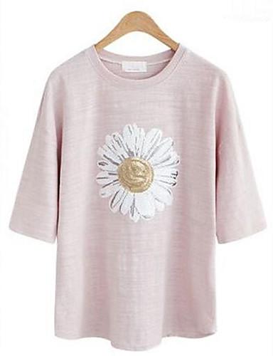 Damen Solide Übergröße Lässig/Alltäglich T-shirt,Rundhalsausschnitt Sommer Kurzarm Blau / Rosa Baumwolle Mittel