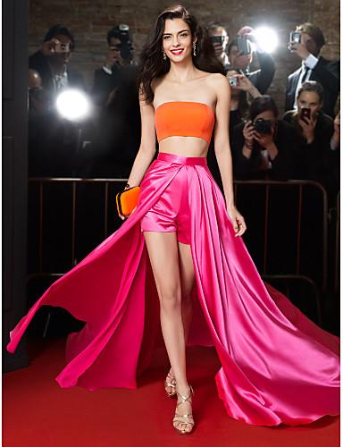 Linha A Duas Peças Sem Alças Cauda Escova Chiffon Charmeuse Baile de Formatura / Evento Formal Vestido com Fenda Frontal de TS Couture®