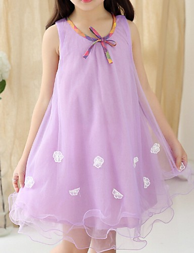 שמלה כותנה קיץ הילדה של תחרה סגול פוקסיה ירוק