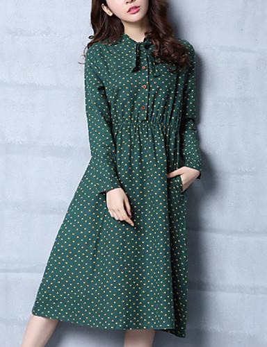 מידי פפיון, מנוקד - שמלה משוחרר / נדן כותנה פשוט / סגנון רחוב בגדי ריקוד נשים