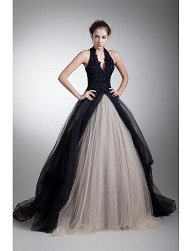 billige Quinceanera Kjoler-A-linje Grime Hoffslep Tyll Fargeblokk Formell kveld Kjole med Perlearbeid / Appliqué av TS Couture®